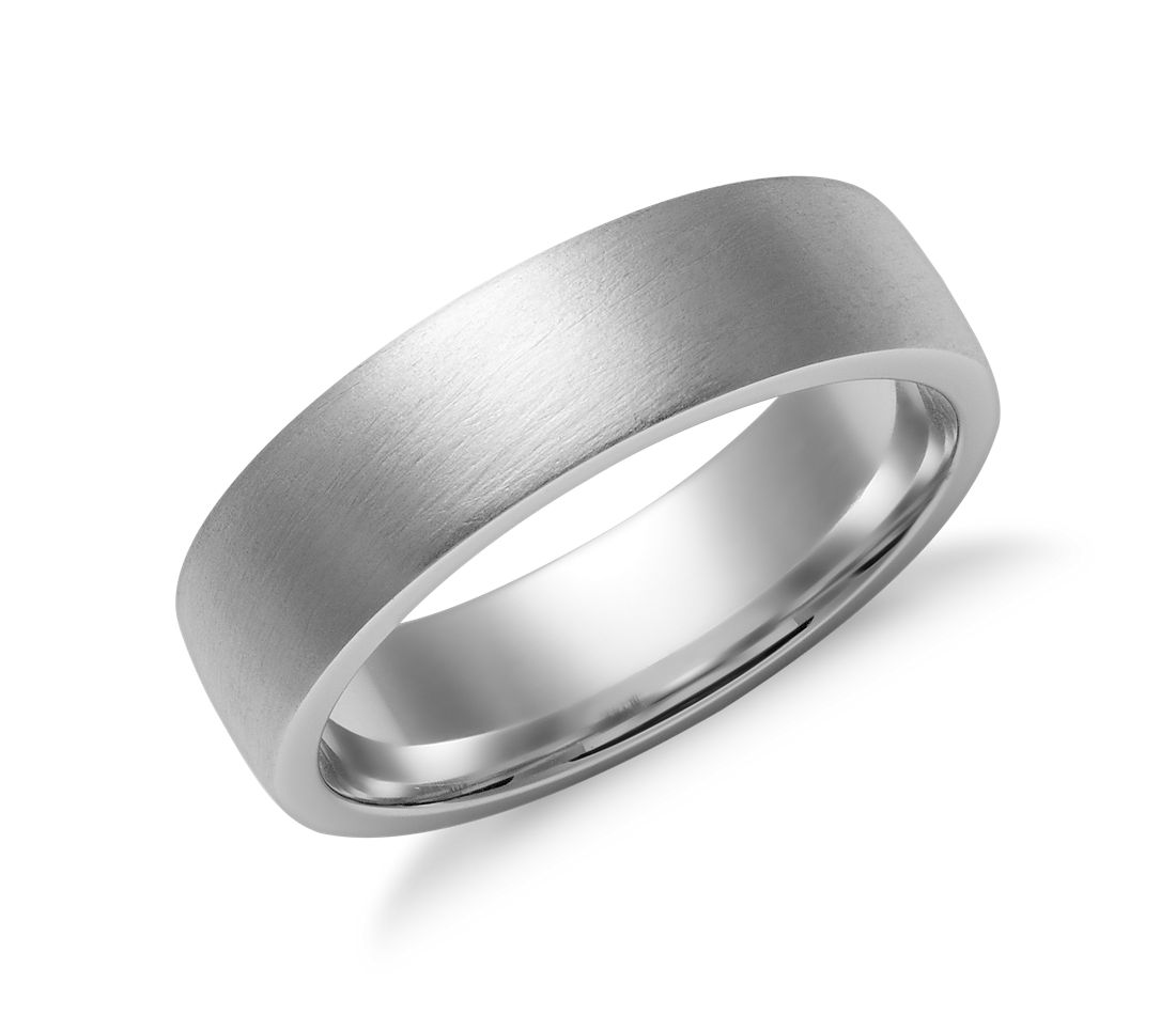 Matte Low Dome Comfort Fit Wedding Ring in 14k White Gold (6mm)