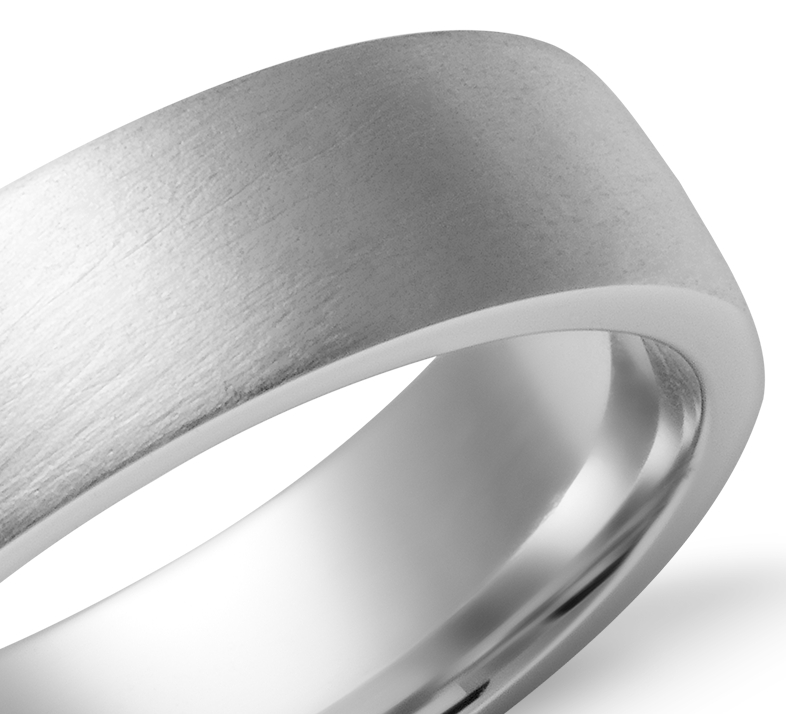 Alliance confort dôme simple en or blanc 14 carats (6 mm)
