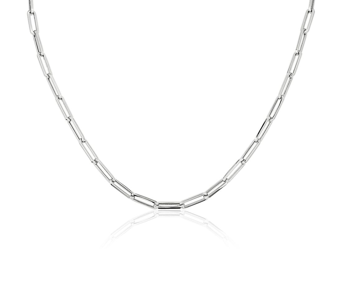 "18"" Paperclip Necklace in 14k Italian White Gold"