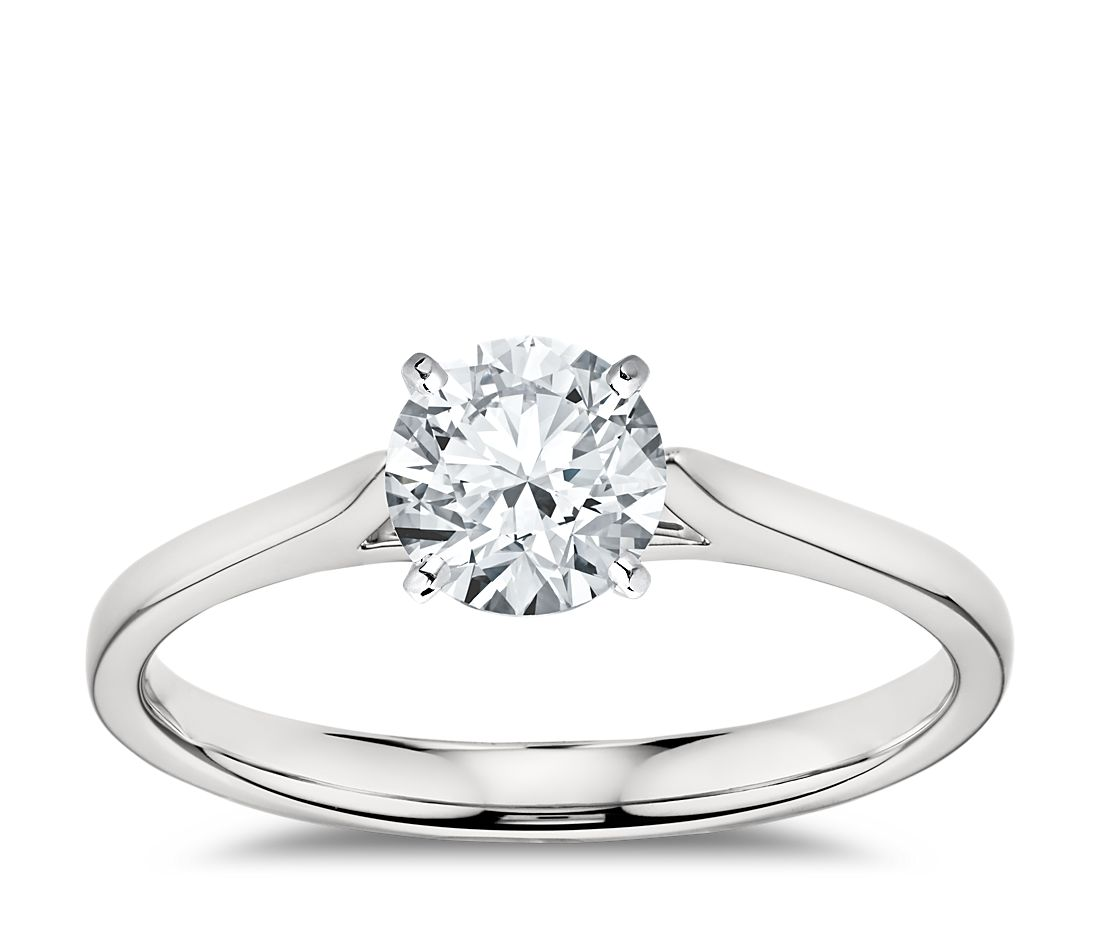 Petite Cathedral Solitaire Engagement Ring in 14k White ...