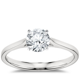 petite cathedral solitaire engagement ring in 14k white gold - Wedding Ring Setting