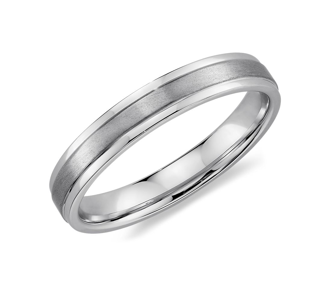 Brushed Inlay Wedding Ring in 14k White Gold (4mm)
