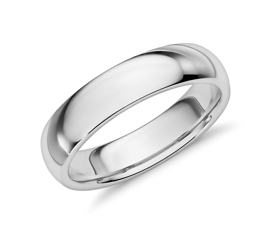 comfort fit wedding ring in 14k white gold 5mm - Blue Wedding Ring