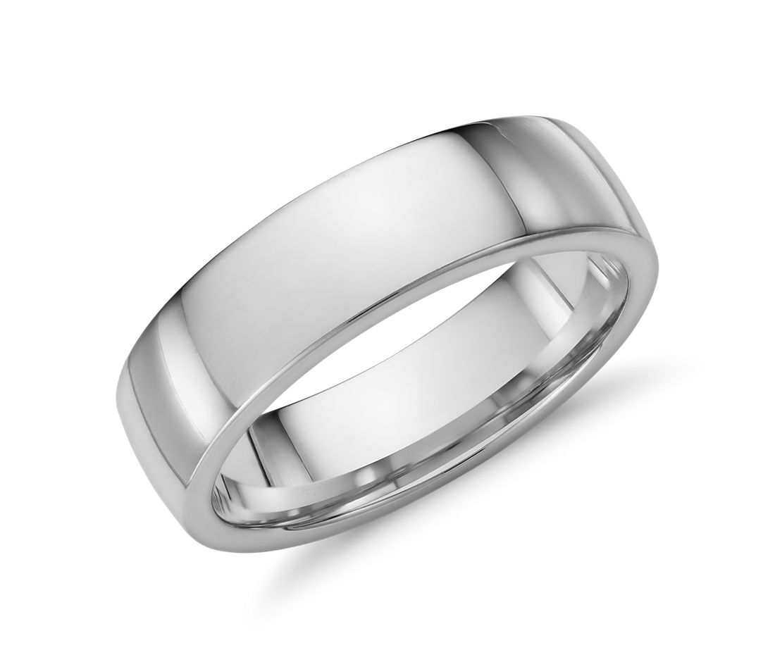Low Dome Comfort Fit Wedding Ring In 14k White Gold 6mm