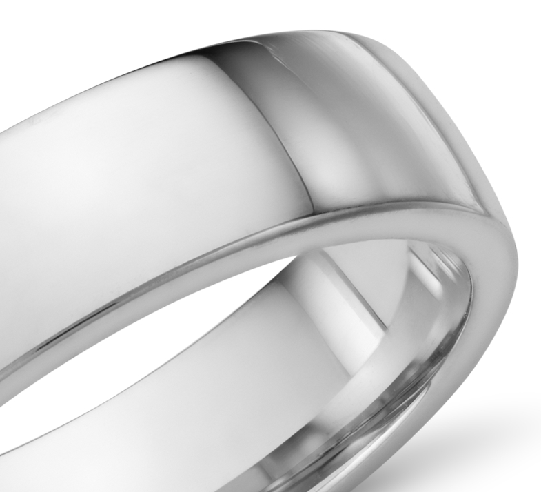 Low Dome Comfort Fit Wedding Ring in 14k White Gold (6mm)