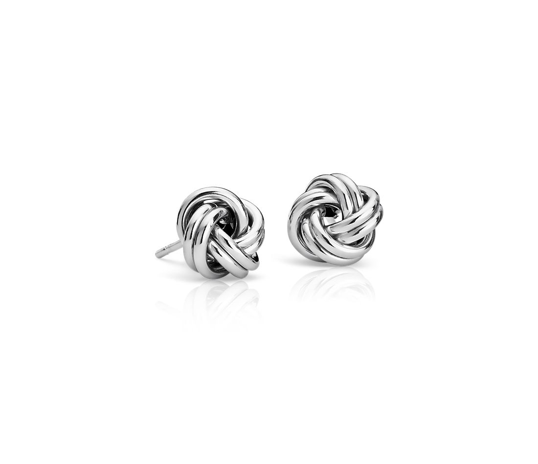 Petite Love Knot Earrings in 14k Italian White Gold