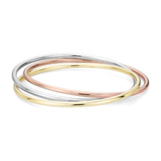 Trio Bangle Bracelet in 14k Italian Yellow, White and Rose Gold