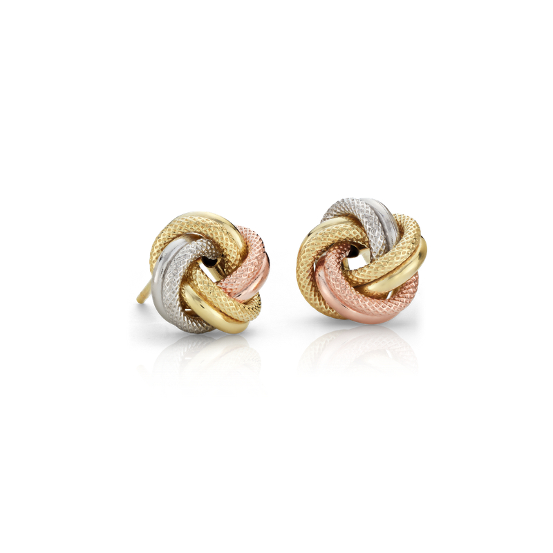 Trio Love Knot Earrings in 14k Tri-Color Italian Gold