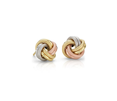 Aretes de tres nudos Love in 14k Tri-Color Italian Gold