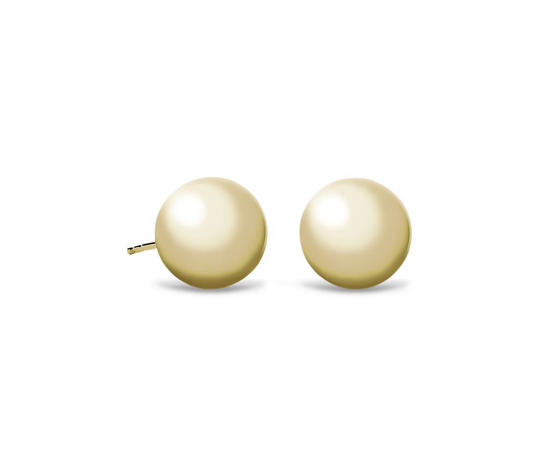 Bead Ball Stud Earrings In 14k Yellow Gold 10mm