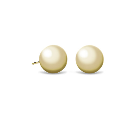 Bead Ball Stud Earrings in 14k Yellow Gold (10mm)