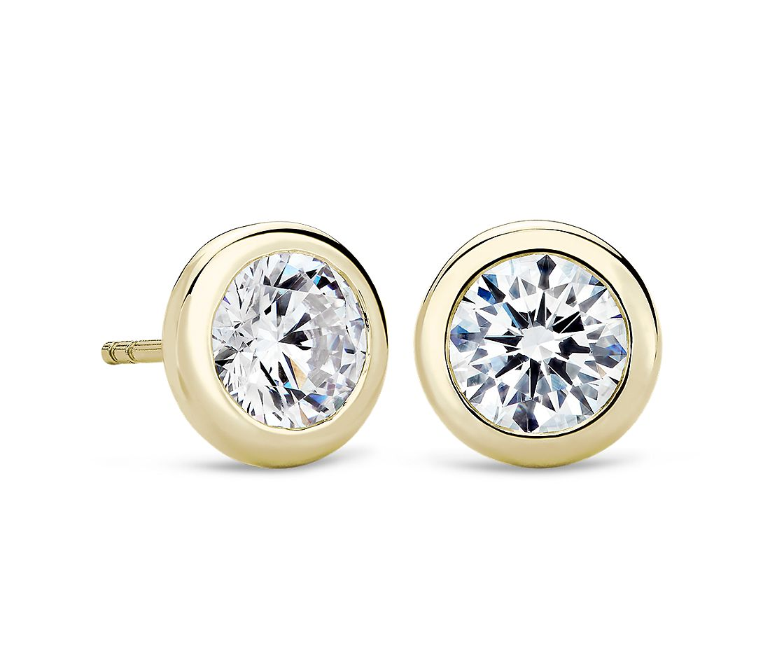 Bezel Earrings In 14k Yellow Gold Blue Nile