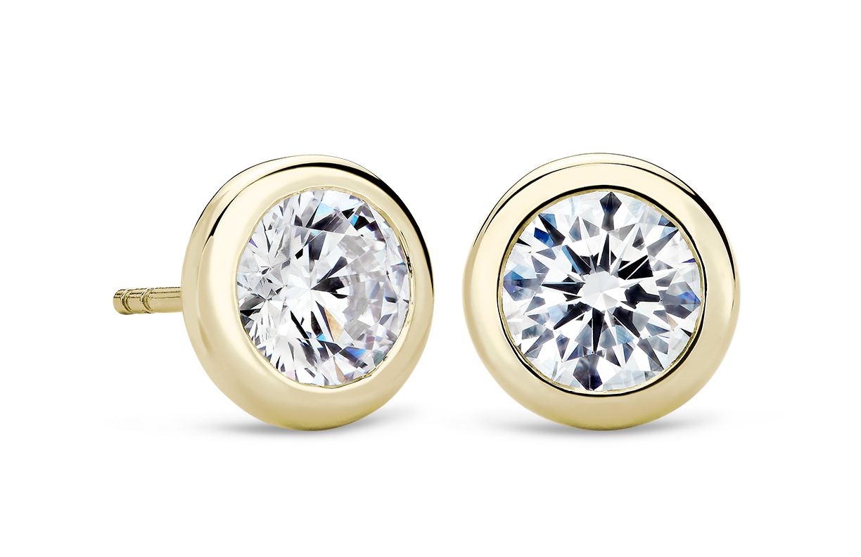 Bezel Earrings in 14k Yellow Gold