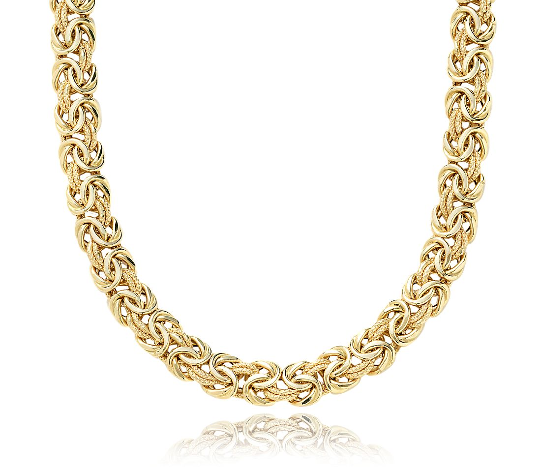 "Byzantine Necklace in 14k Yellow Gold - 20"" Long"