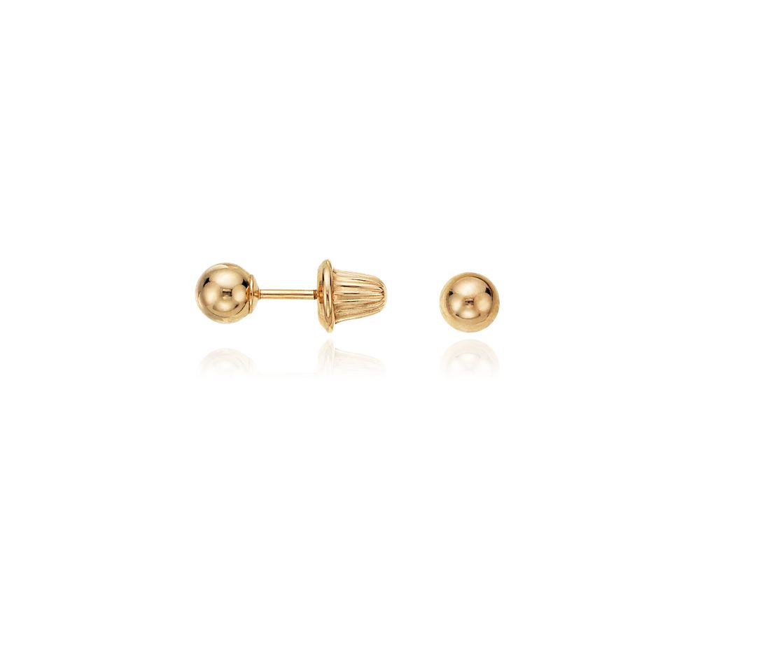 Children's Ball Earrings in 14k Yellow Gold