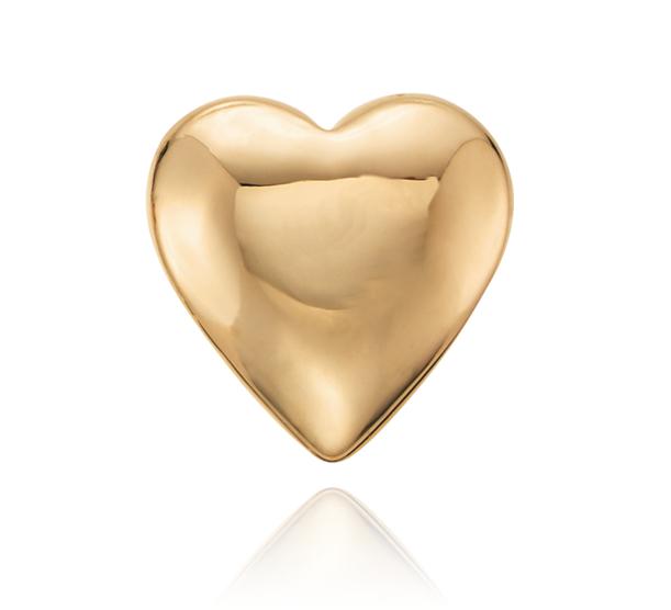 Aretes para niña con forma de corazón en oro amarillo de 14k