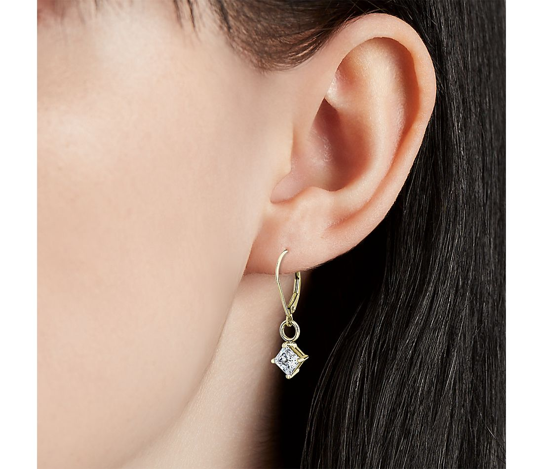 Four-Prong Leverback Drop Earrings in 14k Yellow Gold