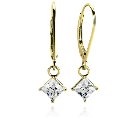 Four-Prong Leverback Dangle Earrings in 14k Yellow Gold