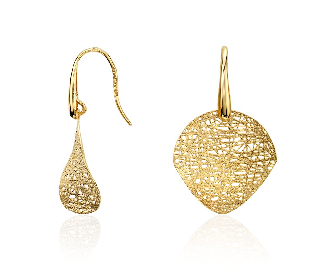 Woven Disc Drop Earrings in 14k Yellow Gold