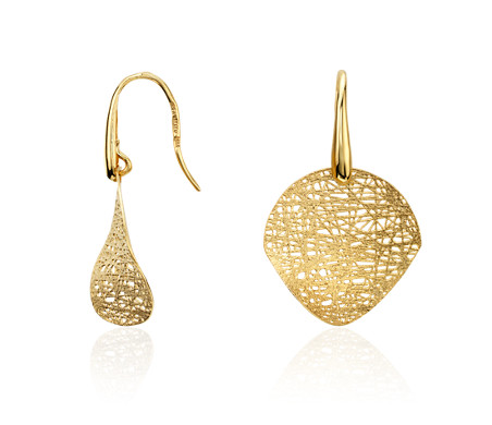 Blue Nile Double Disc Drop Earrings in 14k Yellow Gold LQOS49