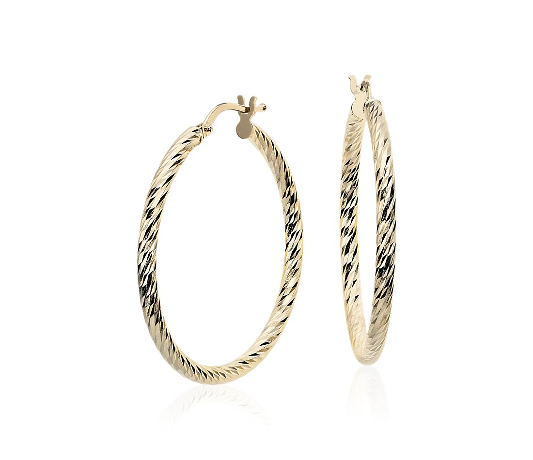 "Faceted Hoop Earrings in 14k Yellow Gold (1 3/8"")"