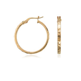 "Hammered Hoop Earrings in 14K Yellow Gold (7/8"")"