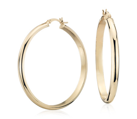 Blue Nile Medium Hoop Earring in 14k Rose Gold (1 3/8) YywvNp