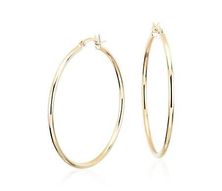 Blue Nile Large Hoop Earrings in 14k Yellow Gold (1 5/8) GO7ttDAix