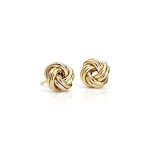 Petite Love Knot Earrings in 14k Yellow Gold
