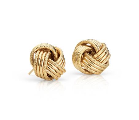 Boucles d'oreilles nœud d'amour Grande en or jaune 14carats