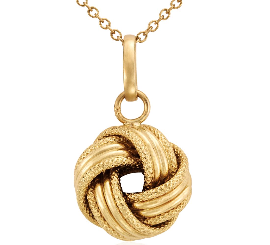 Pendentif nœud d'amour Grande en or jaune 14carats