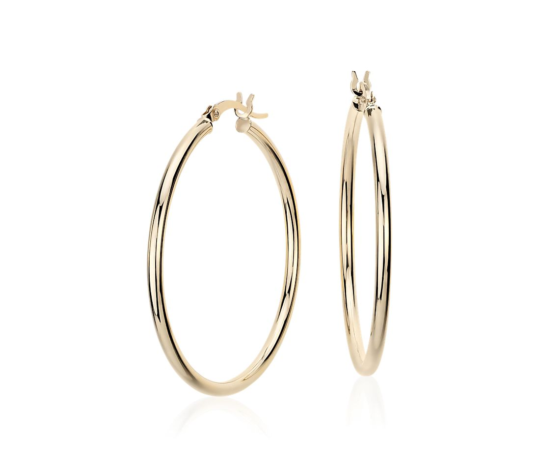 Medium Hoop Earring in 14k Yellow Gold (1 3/8)