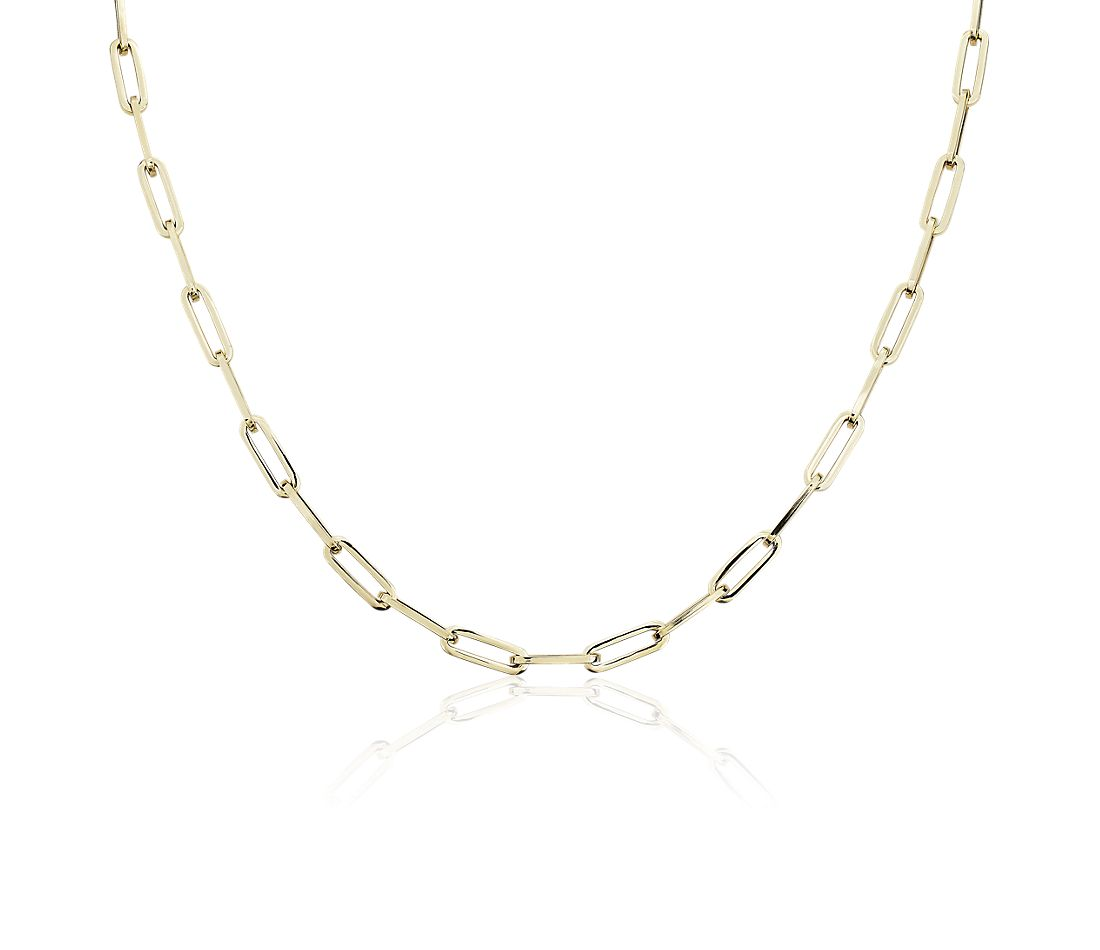 14k Italian Yellow Gold Paperclip Chain Necklace