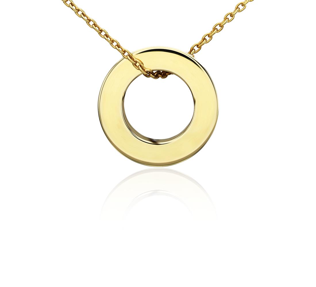 Colgante con forma de círculo pequeño en oro amarillo de 14k
