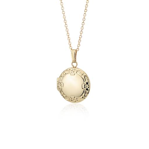 Blue Nile Petite Round Floral Locket in 14k Yellow Gold RN9ma8AyAJ