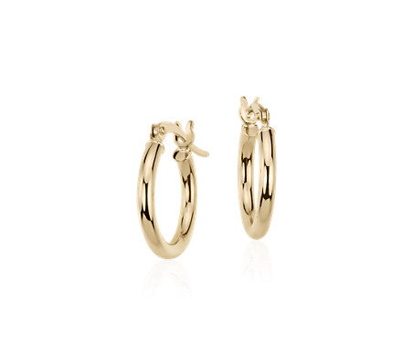 "Petite Hoop Earrings in 14k Yellow Gold (5/8"")"