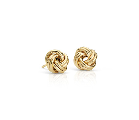 Blue Nile Petite Love Knot Earrings in 14k Italian White Gold 37Y7mxO