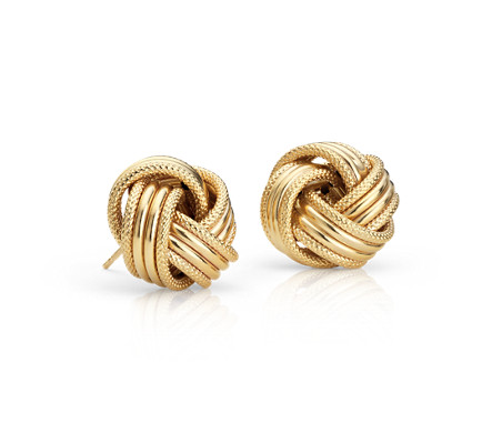 Grande Love Knot Earrings in 14k Italian Yellow Gold