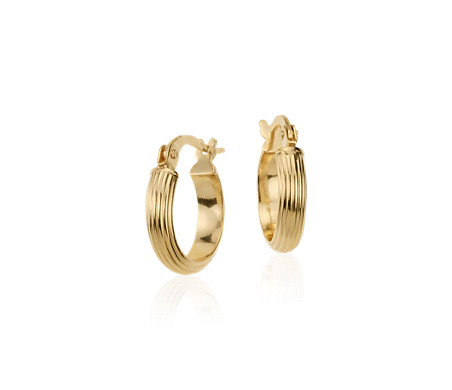 "Mini Hoop Earrings in 14k Italian Yellow Gold (7/16"")"