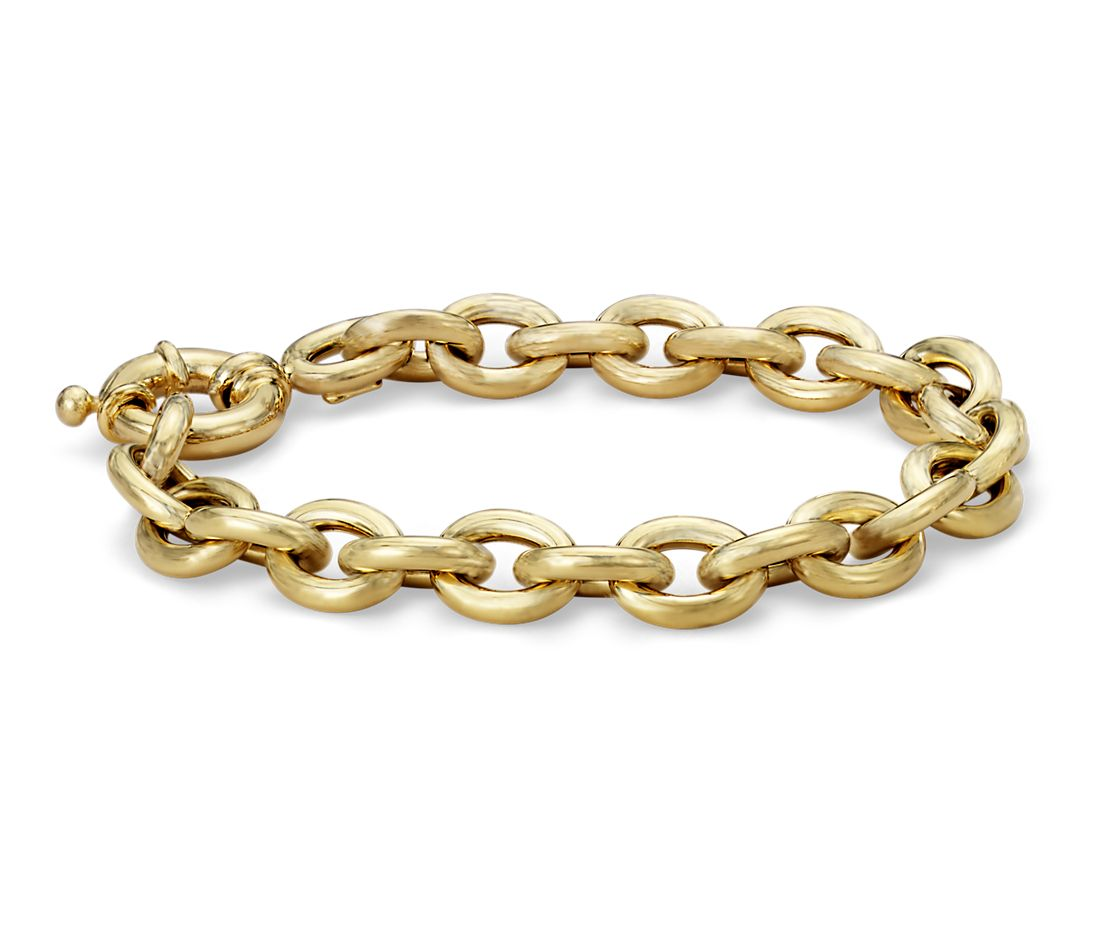 Oval Linked Bracelet In 14k Italian Yellow Gold