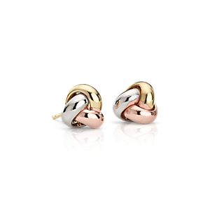 Trio Love Knot Earrings in 14k Tri-Color Gold (9.5mm)