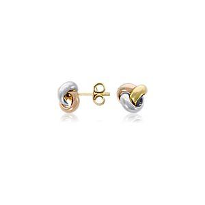 Aretes de nudo en oro tricolor de 14k