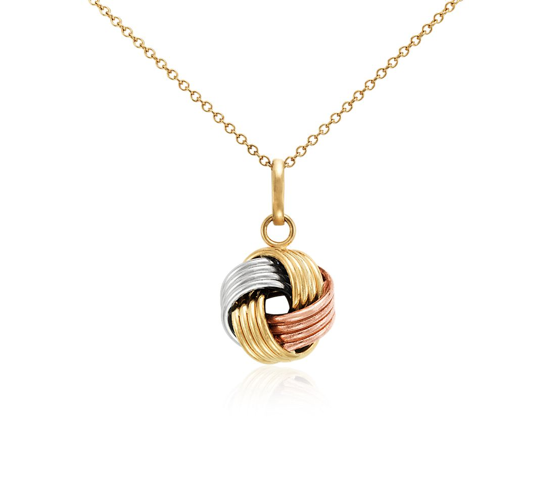 Grande Love Knot Pendant in 14k Tri-Colour Gold