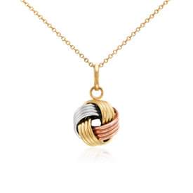 Grande Love Knot Pendant in 14k Tri-Color Gold