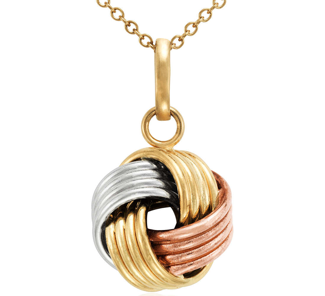 Grande Love Knot Pendant in 14k Tri-Color Gold