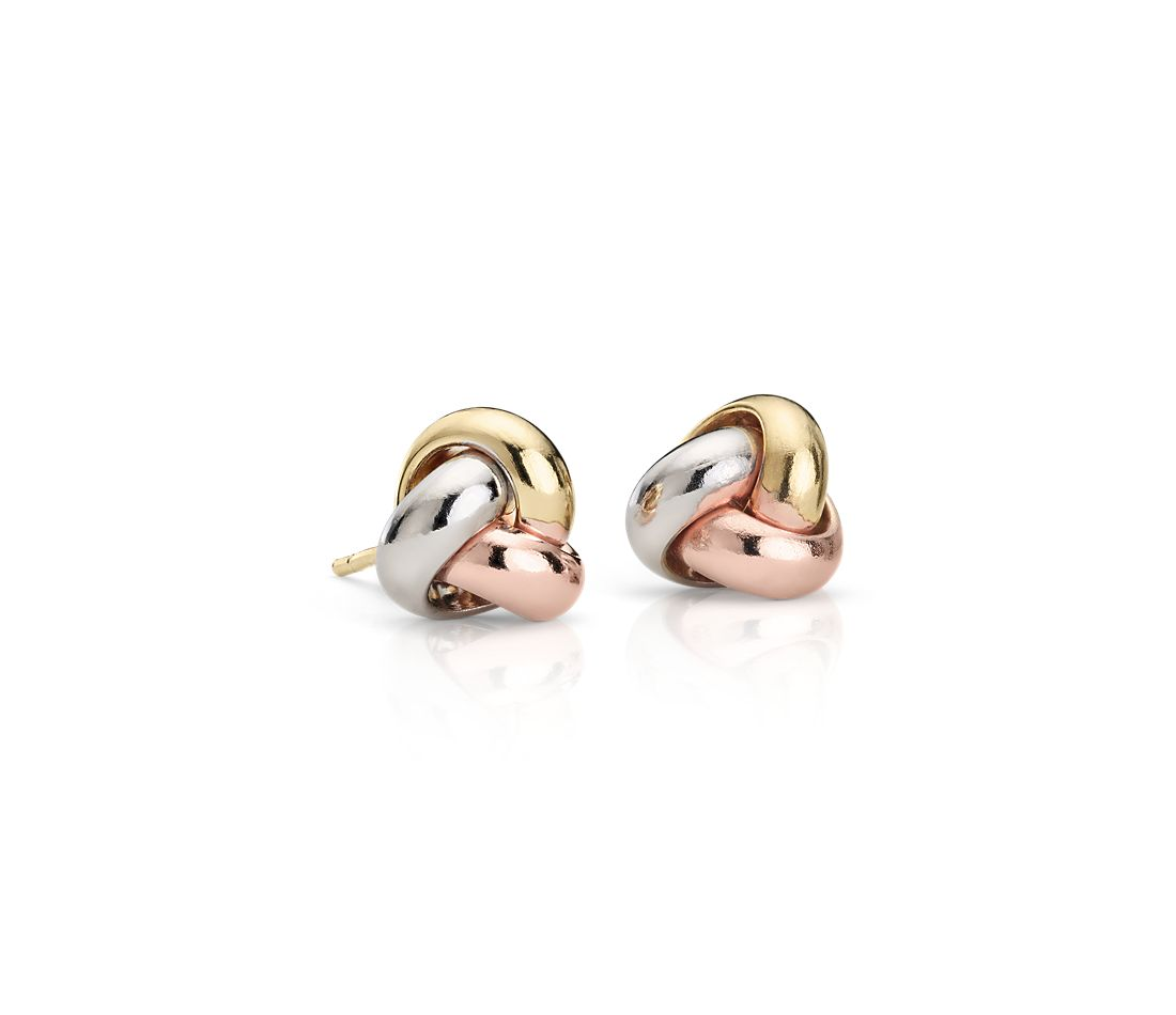 Trio Love Knot Earrings in 14k Tri-Color Italian Gold (9.5mm)