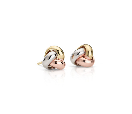 gold stud knot earrings fine sa earring rose love plated jewelry silverage item sterling silver real