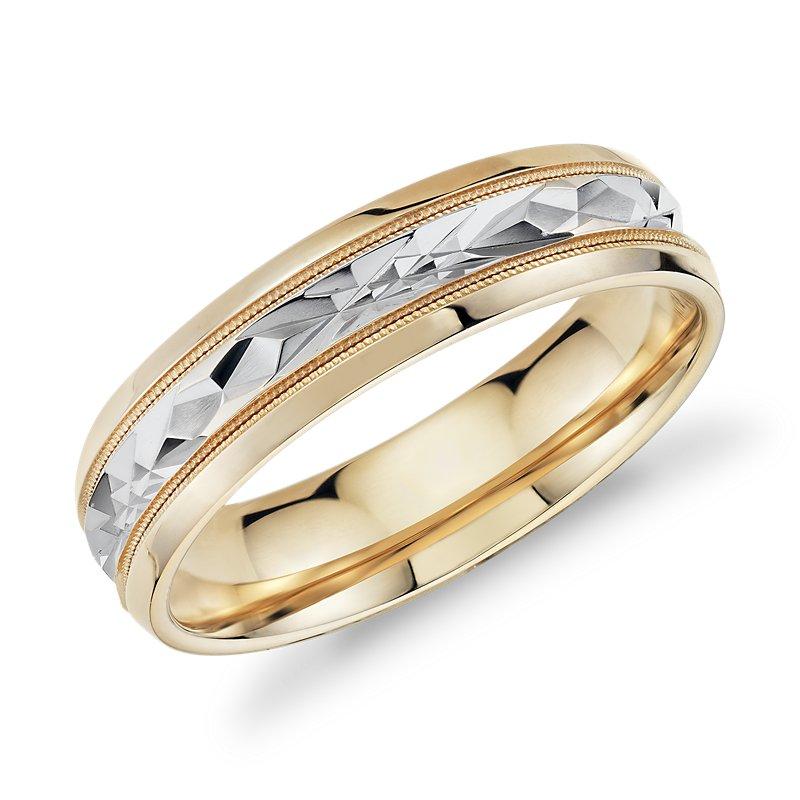 Two-Tone Milgrain Diamond Cut Wedding Band in 14k Yellow Gold (6mm)