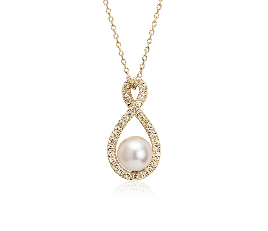 Freshwater Cultured Pearl Infinity Halo Pendant in 18k Yellow Gold (8mm)
