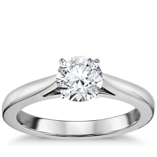 Tapered Cathedral Solitaire Engagement Ring In 18k White Gold Blue Nile